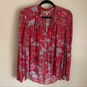 Lucky Brand floral peasant top in red, S